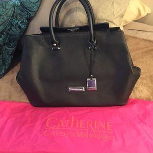 Catherine Malandrino Black Crosshatch Bag